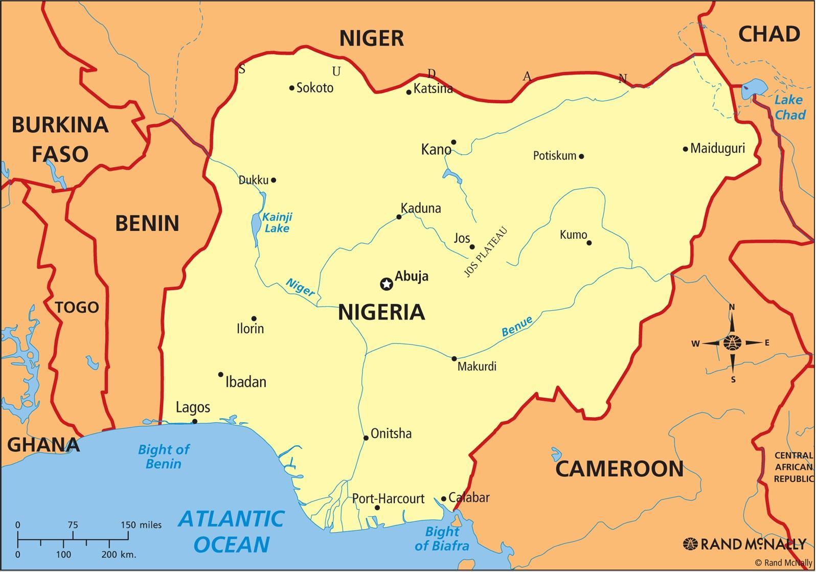 Kartta Nigeria Osoittaa Niger Joen Ja Joen Benue Kartta Nigeria