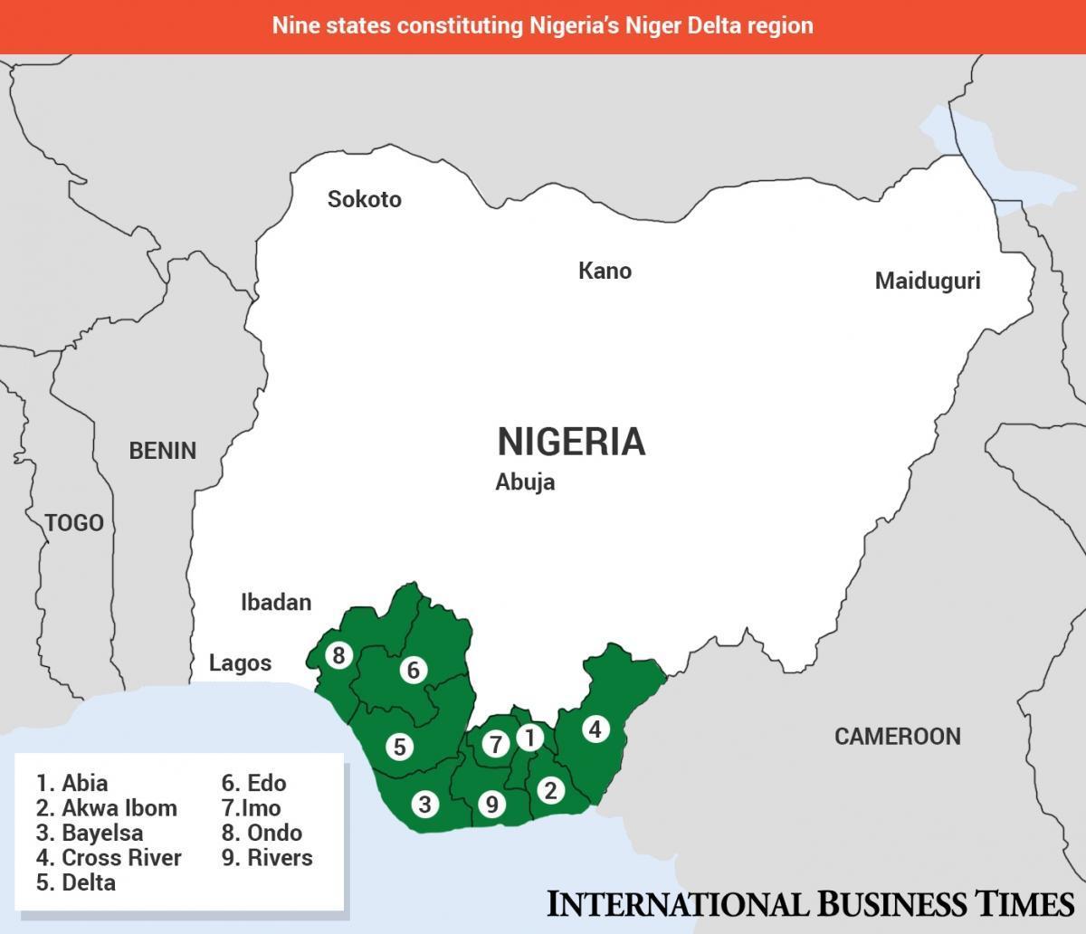 Niger Delta Kartta Nigeriassa Kartta Niger Delta Kartta